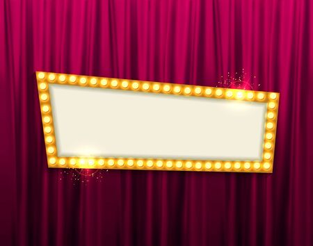 Retro frame comic design banner elements with light bulbs.