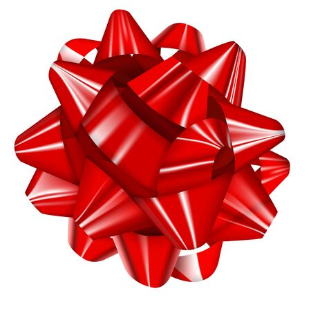 Red Realistic Glossy Ribbon Bow. Vector Illustration EPS10