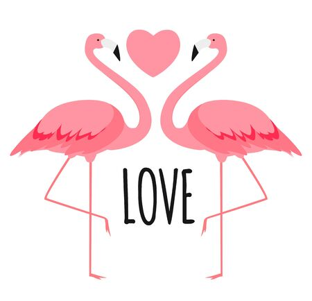 Cute card with flamingos. Love and Valentines day Background. Vector Illustration EPS10 Illustration