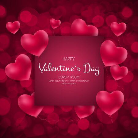 Tarjeta de feliz día de San Valentín con corazón. Ilustración vectorial