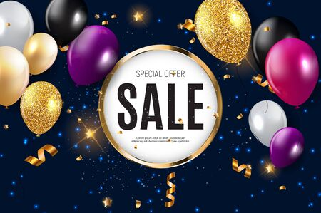 Sale banner with floating balloons. Vector illustration.