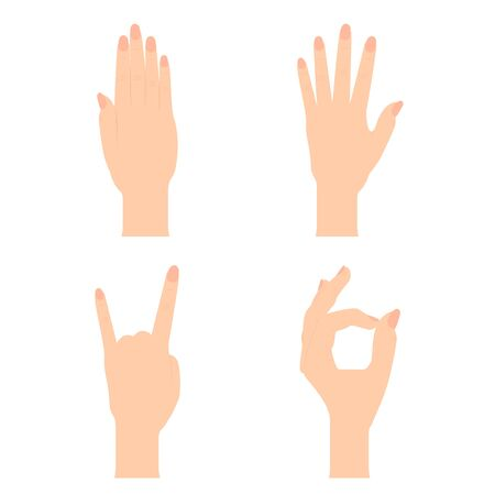 Set of Naturalistic Silhouettes of hands that show OK, stop, cool, open hand with flexion of the fingers. Vector Illustration. EPS10 Ilustração
