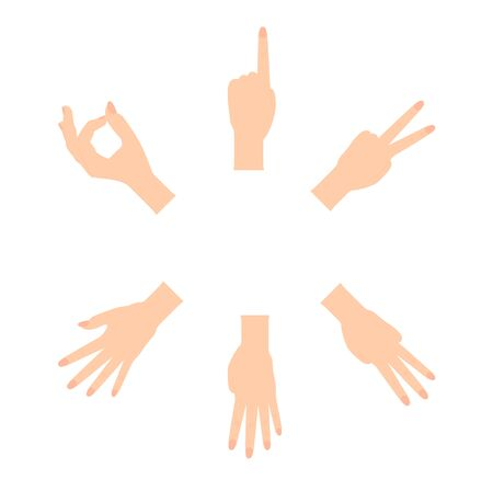 Set of Naturalistic Hand Silhouettes that show the numbers 0, 1, 2, 3, 4, 5 with flexion of the fingers. Vector Illustraion. EPS10 Ilustração