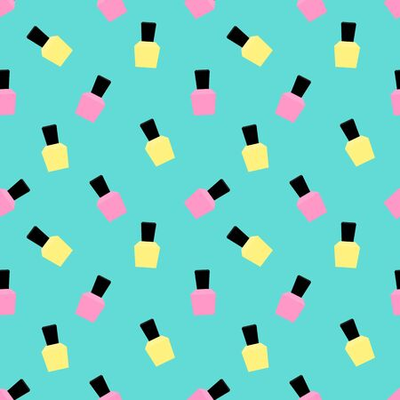 Beauty Seamless Pattern with manicure gel polish Vector Illustration