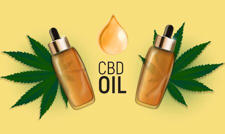 CBD oil products, cannabis oil for medical and cosmetic purposes.Vector illustration EPS10 向量圖像