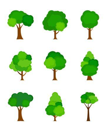 Silueta de árbol plano coloreado aislado sobre fondo blanco. Ilustración de vector. EPS10