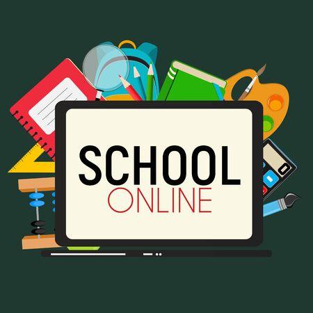 School Online Concept Background Vector Illustration EPS10