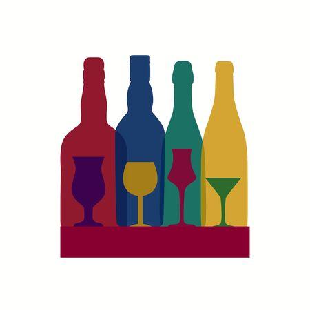 Vector Illustration of Silhouette Alcohol Bottle Background EPS10 Illustration