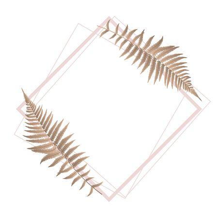 Fern Leaf Background with Golden Frame Vector Illustration EPS10