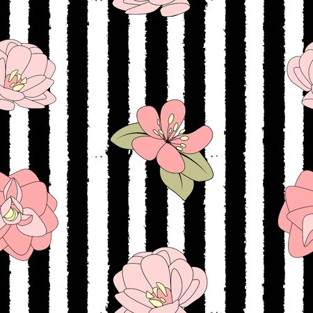 Hand drawn flower seamless pattern background. Vector Illustration EPS10