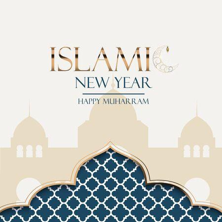 Islamic new year holiday background. Happy Muharram. Vector Illustration EPS10