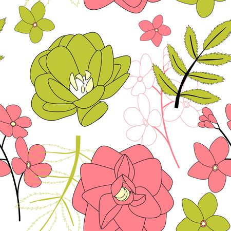 Hand drawn flower seamless pattern background. Vector Illustration EPS10