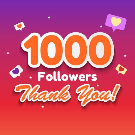 1000 Followers, Thank you Background for Social Network friends. Vector Illustration eps10 Illustration
