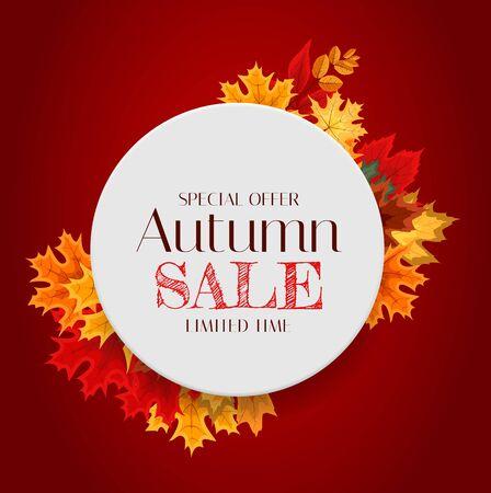 Herbst-Verkaufs-Hintergrund-Vorlage mit Blättern. Sonderangebot. Begrenzte Zeit. Vektor-Illustration EPS10 Vektorgrafik