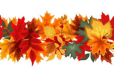 Autumn Seamless Border with Falling Autumn Leaves. Vector Illustration EPS10 Vettoriali
