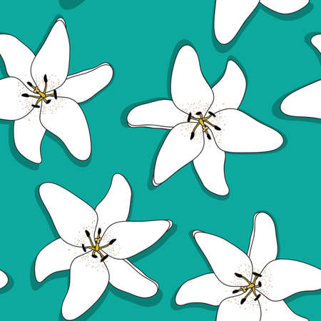 Abstract Hand Drawn Lilly flower seamless pattern background. Vector Illustration EPS10