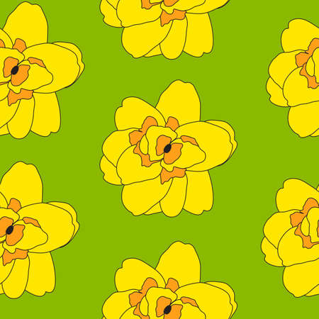 Abstract Hand Drawn Narcissus flower seamless pattern background. Vector Illustration EPS10