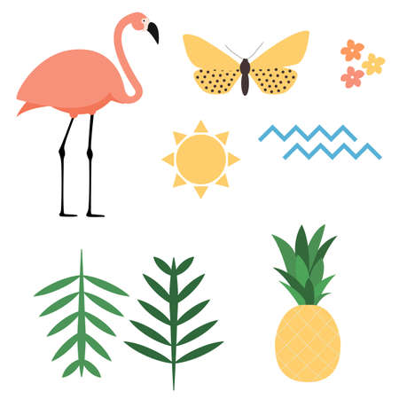 Flamingo, sun, butterfly, flower, palm leaf, ananas amd sea wave icons set on white background. Vector Illustration EPS10 Vector Illustration