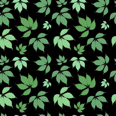 Abstract Natural Green Leaves Seamless Pattern Background. Vector Illustration EPS10 Vettoriali