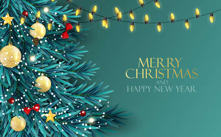 Holiday New Year and Merry Christmas Background with realistic Christmas tree. Vector Illustration EPS10 Illustration
