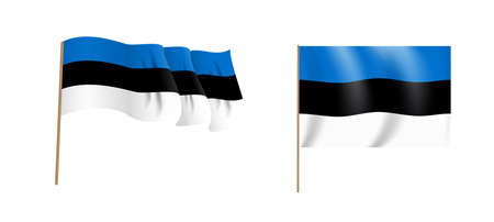 Colorful naturalistic waving flag of the country Estonia. Vector Illustration. EPS10