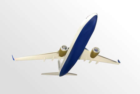 Naturalistic plane takes off. Bottom view. Isolated on white background. Vector Illustration.