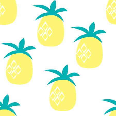 Pineapple seamless pattern background. Vector Illustration