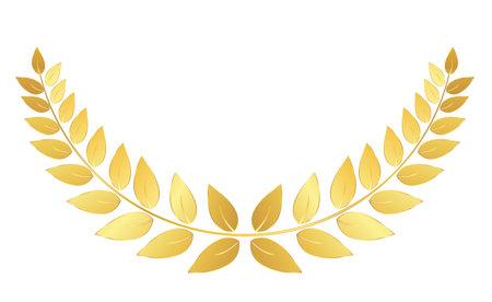 Golden Laurel wreath isolated on white background. Vector Illustration 向量圖像