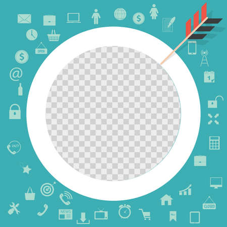 Target Flat Concept Icon Vector Illustration. Target Icon Image, Sign. Square Template for social networks and messengers.