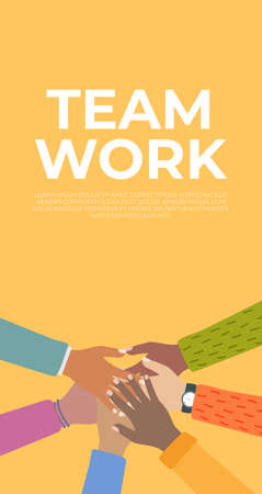 Team Work. People community integration concept with raised human hands. Vector Illustration.