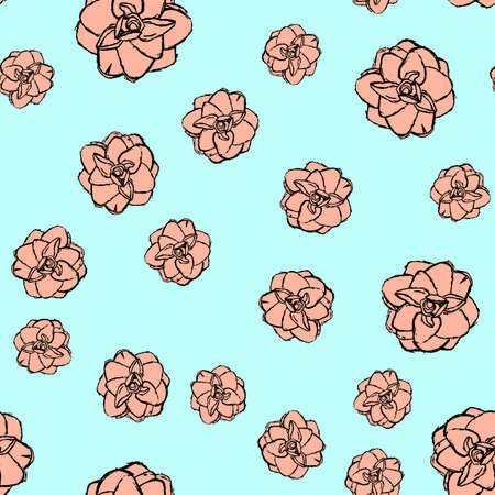 Hand drawn flower seamless pattern background.