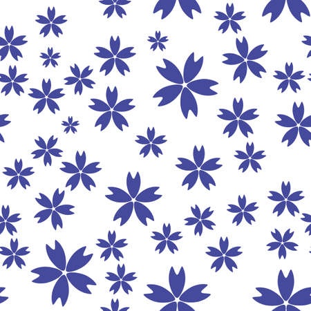 Seamless Simple Pattern Background with Flowers. Vector Illustration
