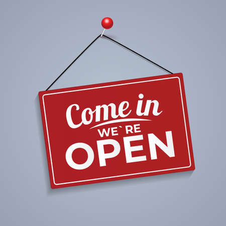 Come in We Are Open Icon Sign Vector Illustration