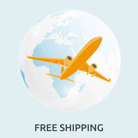 Air Cargo flies across the sky. Delivery of goods. Simple drawing. Vector illustration on white background Illusztráció