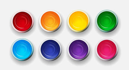 Tins with gouache, acrylic paint collection set in rainbow colors. Design elements for art background. Vector Illustration
