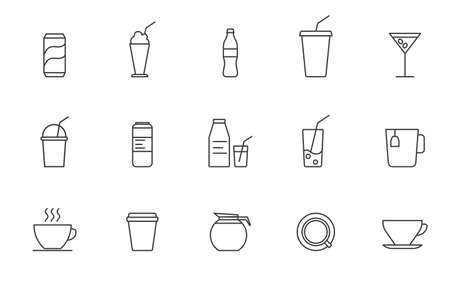 Set of Simple drink icon in trendy line style isolated on white background for web apps and mobile concept. Vector Illustration