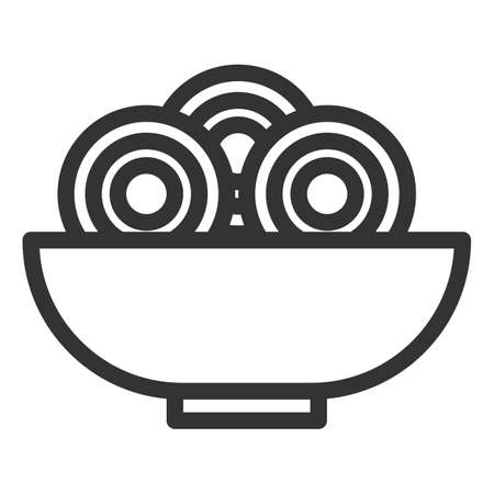 Vermicelli in plate. Simple food icon in trendy line style isolated on white background for web apps and mobile concept. Vector Illustration. EPS10