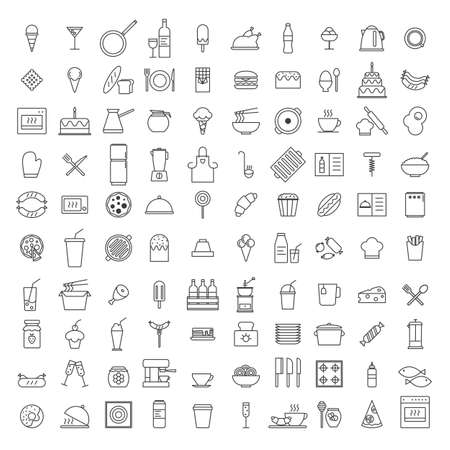 Set of Simple 100 kitchen icons in trendy line style isolated on white background for web apps and mobile concept. Vector Illustration