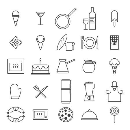 Set of Simple kitchen, food nad drink icons in trendy line style isolated on white background for web apps and mobile concept. Vector Illustration