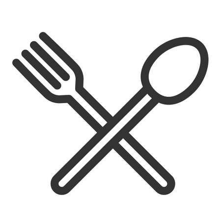 Cutlery - fork, knife. Simple food icon in trendy line style isolated on white background for web apps and mobile concept. Vector Illustration. EPS10