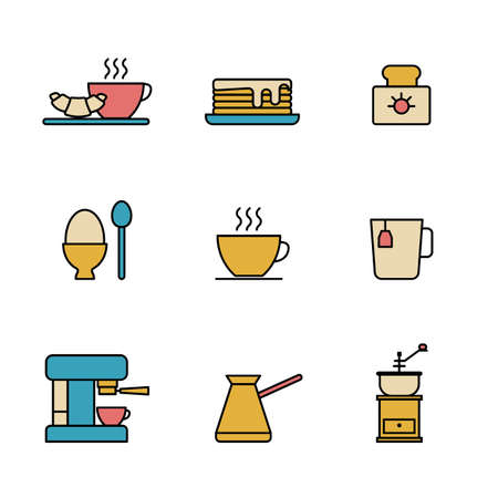 Set of Simple colored breakfast icon in trendy line style isolated on white background for web apps and mobile concept. Vector Illustration. EPS10