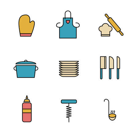 Set of Simple colored kitchen utensils icon in trendy line style isolated on white background for web apps and mobile concept. Vector Illustration. EPS10 Illustration