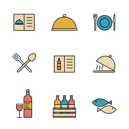 Set of Simple colored restaurant utensils icon in trendy line style isolated on white background for web apps and mobile concept. Vector Illustration. EPS10 Illustration