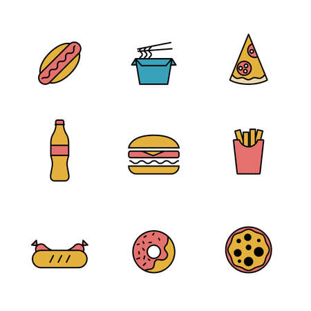Set of Simple fast food, snack, away from home icon in trendy line style isolated on white background for web apps and mobile concept. Vector Illustration. EPS10