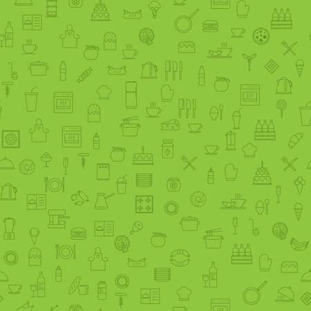 Simple Food and Drink Icon Seamless Pattern Background. Vector Illustration Illustration