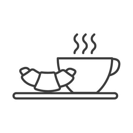 Cup of hot tea, coffe and croissant. Simple food icon in trendy style isolated on white background for web apps and mobile concept. Vector Illustration. EPS10