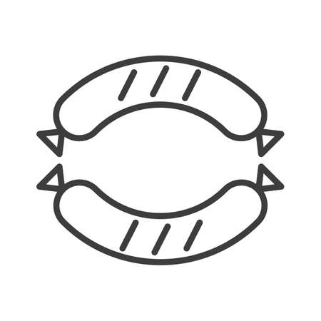 Grilled sausage. Simple food icon in trendy line style isolated on white background for web apps and mobile concept. Vector Illustration. EPS10