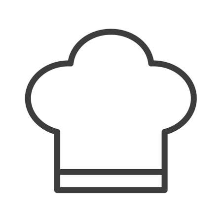 Chef's hat for a chef. Simple food icon in trendy line style isolated on white background for web apps and mobile concept. Vector Illustration. EPS10 Illustration