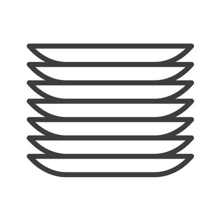 Dishes, plates. Simple food icon in trendy line style isolated on white background for web apps and mobile concept. Vector Illustration. EPS10