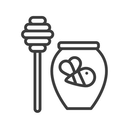 Sweet honey jar. Simple food icon in trendy style isolated on white background for web apps and mobile concept. Vector Illustration. EPS10 Illustration